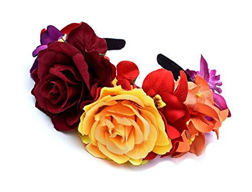 Merroyal - Diadema de flores estilo Frida Khalo, tocado de estilo mexicano para el Día de Muertos,...