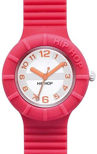 Orologio HIP HOP donna NUMBERS COLLECTION quadrante bianco e cinturino in silicone fucsia, movimento SOLO TEMPO - 3H QUARZO