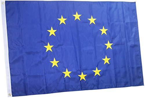 rhungift Bandiera Europa di Alta qualità, per Esterni, 12 Stelle Ricamate, in Nylon Oxford, con Cuciture Quadruple, Bandiera Unione Europea UE 90 x 150 cm
