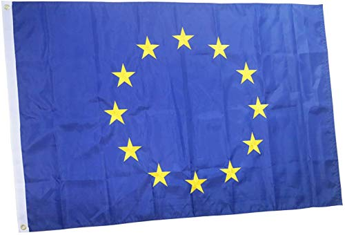 rhungift Europäische Union Flagge für den Außenbereich, Bestickt, 12 Sterne, langlebiges Oxford-Nylon-Quadruple genähte Fliegenenden, EU 90 x 150 cm Europa Fahne flaggen