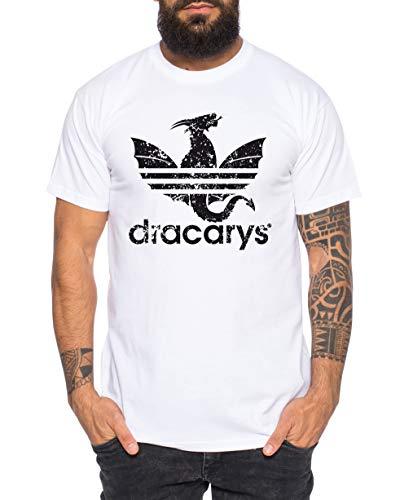 Dracarys - Camiseta de Hombre Targaryen Thrones Game of Stark Lannister Baratheon Daenerys Khaleesi TV BLU-Ray DVD, Größe2:Large, Farbe2:Blanco