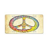 tiedye-peace-713-OVアルミニウムナンバープレート-アルミニウムナンバープレート、フロントナンバープレート、バニティタグ