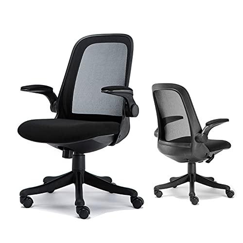 Komene silla ergonómica de oficina en el hogar, silla de computadora de malla ajustable, asiento grueso, silla de escritorio con soporte lumbar y reposabrazos abatible, soporta 300 libras