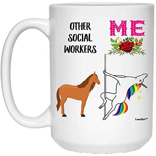 N\A Tazza di caffè Bianco Compleanno Unicorno Divertente Migliore Assistente Sociale