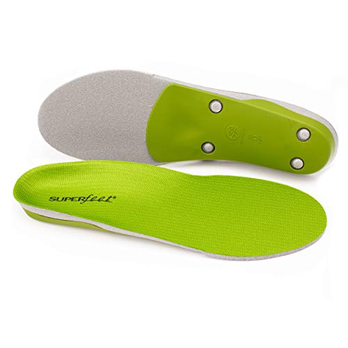 Superfeet Unisex-Adult Green Professional-Grade High Arch Orthotic Shoe Inserts for Maximum Support Insole, 9.5-11 Men / 10.5-12 Women