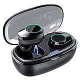 GO5 Mini Wireless Earbuds Bluetooth Headphones Premium Fidelity Sound Quality Wireless Charging Case Digital LED Intelligence Display IPX7 Waterproof Earphones (Black)