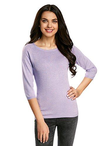 oodji Collection Damen Pullover Basic mit 3/4-Ärmeln, Violett, DE 36 / EU 38 / S