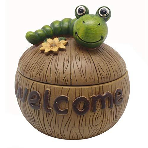 Cenicero Cute Caterpillar Creative Resin con tapa Caterpillar Ashtray para Home Office Company