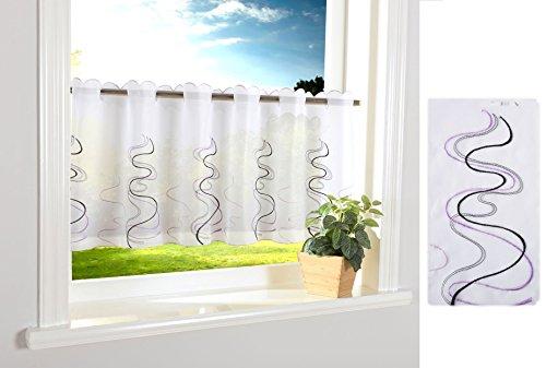 Welle Scheibengardine Durchzuglöcher für Gardinenstangen Scheibe Gardine Küche Lila HxB 40x120 cm, 112241