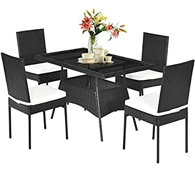 Tangkula 5 PCS Wicker Patio Dining Set, Outdoor Rattan Table & Chairs Set with Tempered Glass Top & Padded Cushions, Patio Furniture Dining Table Set for Balcony Patio Garden Poolside