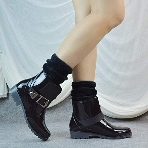Dames korte rubberlaarzen, plus fluweel, korte ijzeren gesp dragen Martin zwart plus sokken dames bewijs Chelsea zachte binnenvoering water laarzen gewatteerd voetbed Wellington voor over-heli
