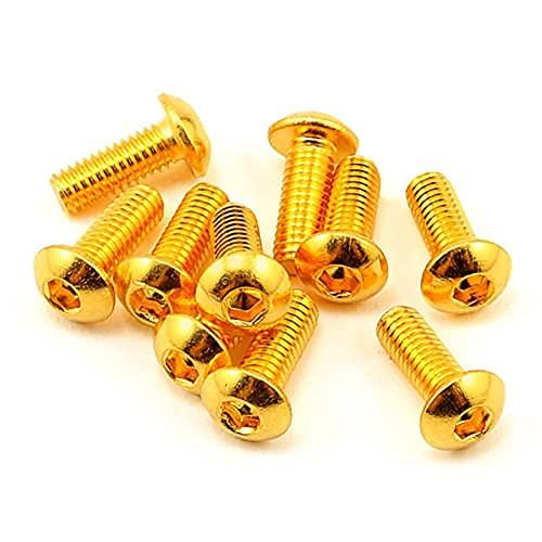 10 piezas grado 12,9 chapado de cabeza media redonda tornillo hexagonal dorado de titanio M2 M2.5 M3 M4 M5 Iso7380 tornillo hexagonal longitud 3-35mm-M2,3mm