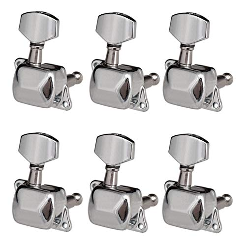 Queenser 6 Pieces String Tuning Pegs Semi-fechado Tuning machine Heads Tuners for Electric Guitar Acoustic Guitar (6 Right, Silver)
