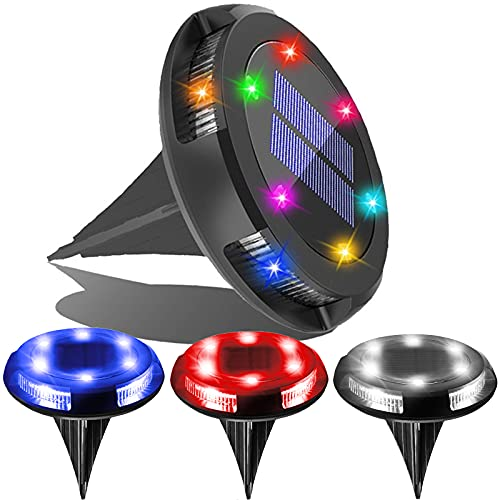 Solar Ground Lights Outdoor - Solar Garden Disk Lights,Multi-Color Auto-Changing 10 LED Waterproof In-Ground Outdoor Landscape Lighting for Lawn Patio Pathway Yard Deck Walkway Flood Light (4pack)