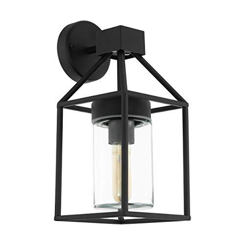 EGLO Außen-Wandlampe Trecate, 1 flammige Außenleuchte, Wandleuchte aus verzinktem Stahl, Farbe: Schwarz, Glas: klar, Fassung: E27, IP44