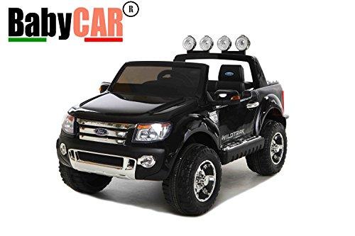 BABYCAR 550N–Coche eléctrica Jeep SUV Ford Ranger Full Optional con mando a distancia, 12V, Negro