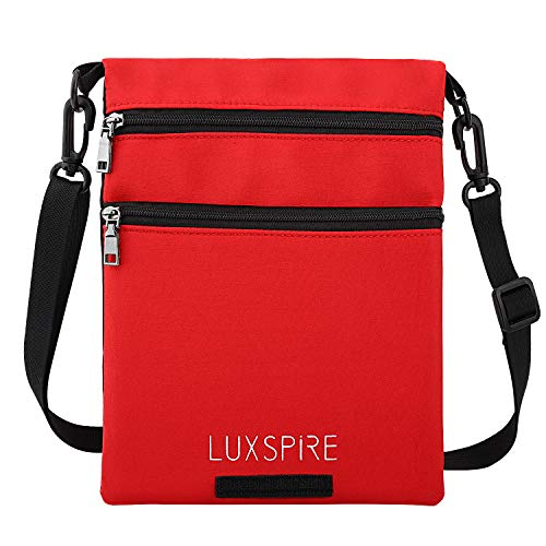 Luxspire Casual Cross-body Bag, Oxford Cloth Stylish Zipper HOOK & LOOP Single Shoulder Messenger Pocket, Cellphone Pouch Small Handbag Purse Wallet for Shopping, Travelling, Working, Black & Red