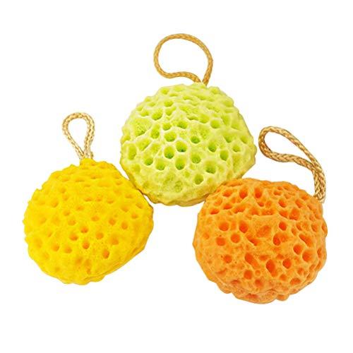 Beaupretty Mousse boule éponge de mer forme nid d'abeille boule de douche pouf maillé exfoliant, 3pcs (couleur mélangée)