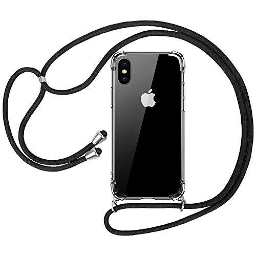 laxikoo Handykette iPhone XS, Handykette iPhone X, Transparent iPhone XS Handyhülle mit Kordel zum Umhängen Necklace Schnur Silikon Schutzhülle mit Band Necklace Hülle für iPhone XS/iPhone X