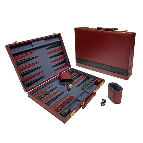 Sun Flair Vinyl Backgammon Set 15 inch, Folding Classic Board Game, Smart Tactics Premium Best Strategy, Tip Guide Enclosed, Burgundy and Black, 136M-3