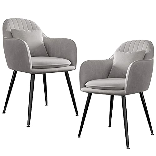 HYRGLIZI Velvet Upholstered Dining Chairs, Set of 2 Dining Room Accent Chair, Kitchen Side Chair with Pillow Washable Cushion Load Capacity 400 Lb (Color : Gray, Size : Black Legs)