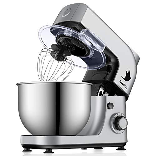 Nestling 800W Küchenmaschine, 5L Knetmaschine mit Edelstahl-Rühlschüssel, Rührbesen, Knethaken, Schlagbesen, Spritzschutz, 6 Geschwindigkeit mit Edelstahlschüssel Teigmaschin - Silber