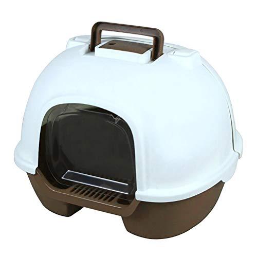 WNZL Cajas De Arena/Arenero para Gatos,Tapa Abatible Trasera Ecológica E Higiénica Completamente Cerrada Caja De Arena Grande/Inodoro para Gatos,Marrón