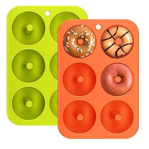 Moule à Beignets en Silicone, Lot de 2 Antiadhésif 6 Cavités Donut Silicone Baking Pan Résistantes à la Chaleur Sans BPA Moulle Patisserie Moule Rond de Dessert pour Biscuits Cakes Orange et Vert