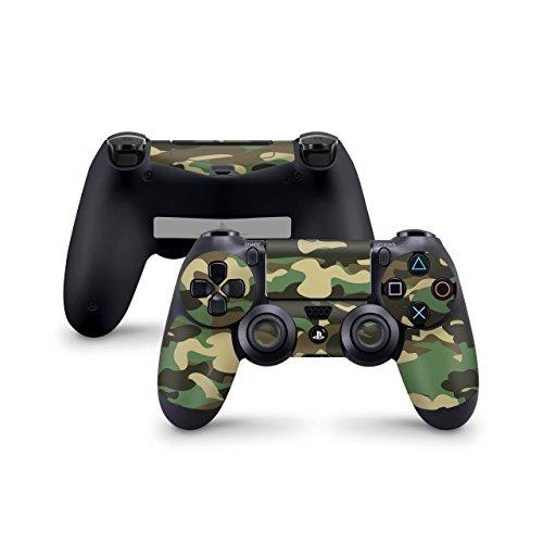 Skins4u Controller Aufkleber Design Schutzfolie Skin kompatibel mit Sony Playstation 4 PS4 Woodland Camo