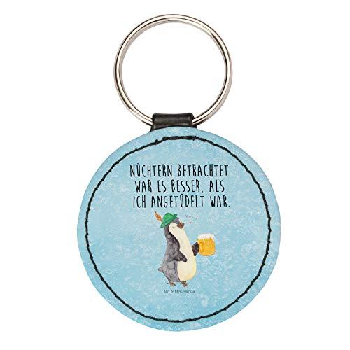 Mr. & Mrs. Panda Rund Schlüsselanhänger Pinguin Bier - Pinguin, Nordpol, Winter Schlüsselanhänger, Anhänger, Taschenanhänger, Glücksbringer, Schlüsselband
