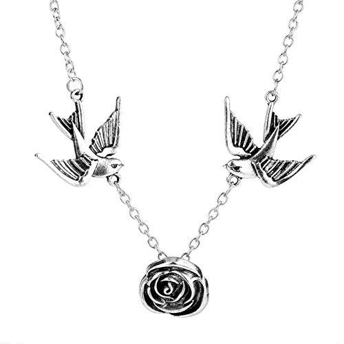YUNMENG Collar de Cadena de Moda para Mujer, Bonito Collar de pájaro Golondrina, Collar con Colgante de joyería, Collares góticos, Accesorios Retro Femeninos