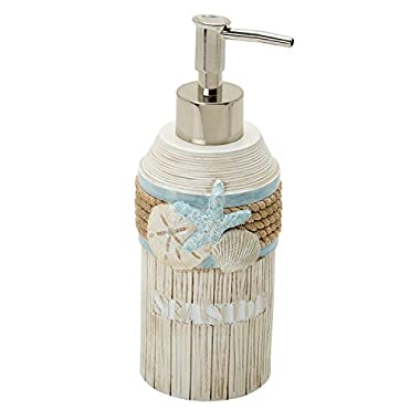 Zenna Home, India Ink Seaside Serenity Lotion Soap Dispenser, Teal/Ivory