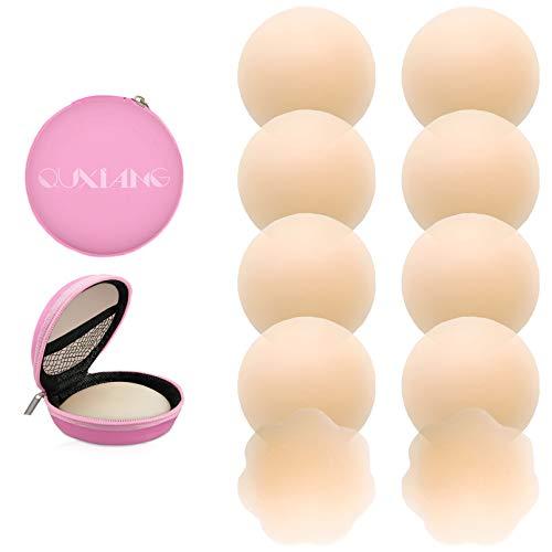 Quxiang 4 Paar Pasties Frauen Brustwarzenaufkleber, wiederverwendbar, Selbstklebende Silikon Nippellose Abdeckungen (4 rund)