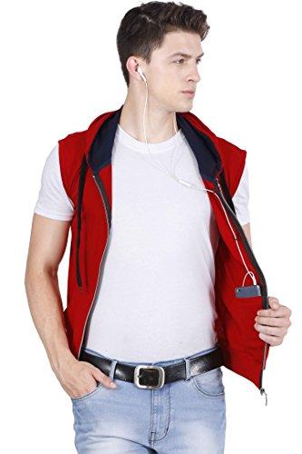 fanideaz Hooded Cotton Red Zipper Jacket Sleeveless Tshirts for Men XL