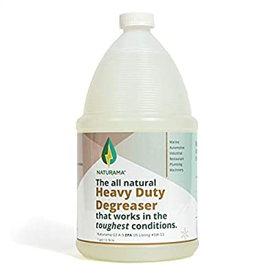 Naturama Heavy Duty Degreaser, Grease Remover, Kitchen, Automotive, and Industrial Cleaner. Removes bacteria, grease, oil, grime, and up to 99% of germs. Powerful, Odor-free, Non Toxic. (1G)