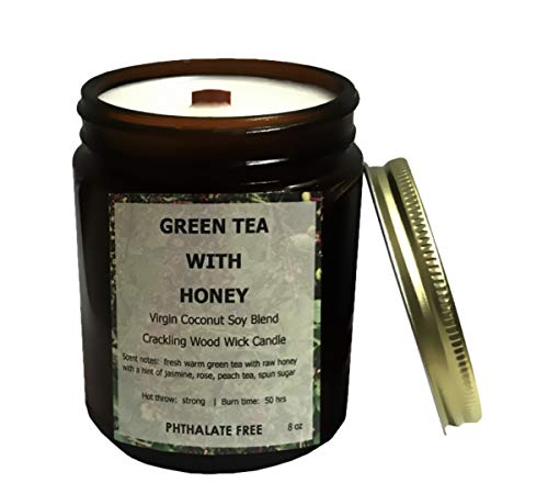 Ladybug Soap Company Coconut Soy Blend Crackling Wooden Wick Candle 50 Hour Burn Time - Green Tea with Honey Scent