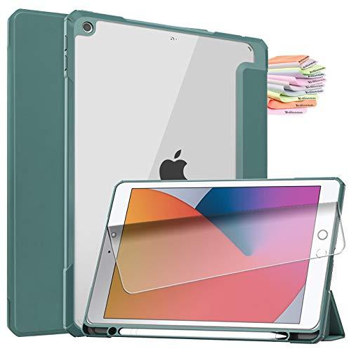 Billionn for iPad 10.2-inch Case[2020 iPad 8th Generation / 2019 iPad 7th Generation]+Screen Protector, [Auto Sleep/Wake] Transparent Back Cover, Dark Green