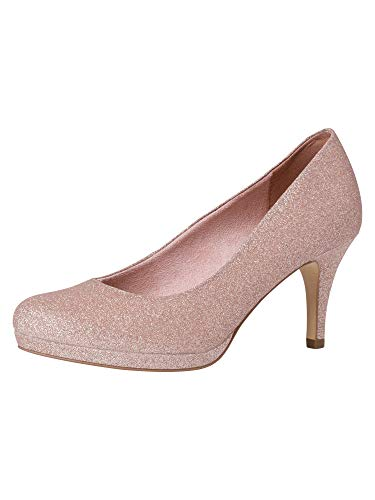 Tamaris Damen Pumps 22465-24, Frauen Plateaupumps, elegant Women's Woman Abend Feier Plateau-Sohle Plateauschuhe Damen,Rose Glam,41 EU / 7.5 UK
