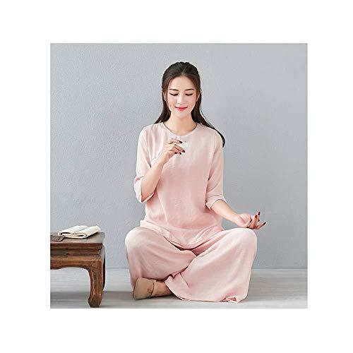 Tai Chi Kleidung Damen,Herren Frauen Zen Meditationsanzug Tai Chi Uniform Chinesische Kung Fu Kleidung Baumwolle Und Leinen Yoga Anzug,Pink-XXXL