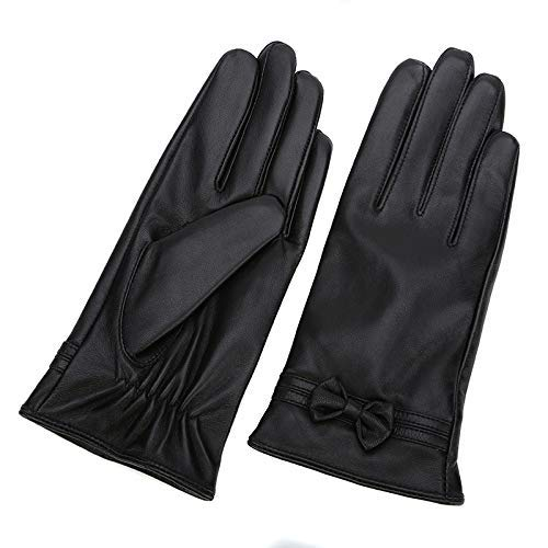 Women's Leather Gloves, Winter Touch Screen Warm Padded Coral Fleece Driving Gloves (Black),L