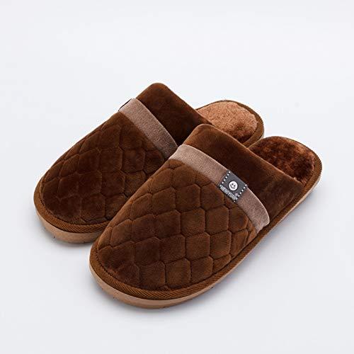 Qsy shoe Couple d'automne et d'hiver Coton Pantoufles Dames Chaussures Chaudes Simples vêtements pour Hommes, café, Extra-Large 31 adapté pour 45/46