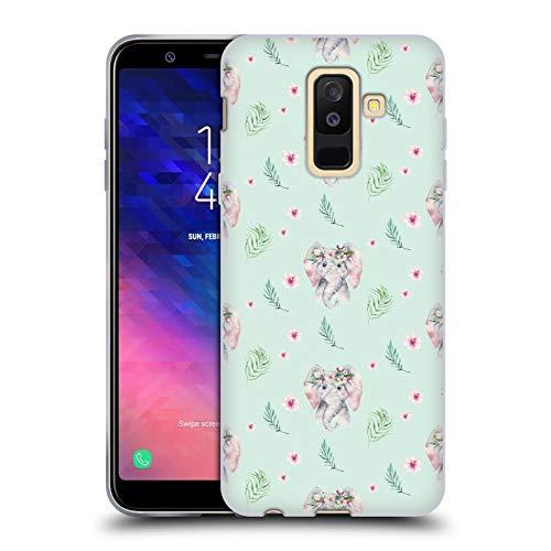 Head Case Designs Offizielle Kristina Kvilis Elefant Muster Suesse Tiere Soft Gel Huelle kompatibel mit Samsung Galaxy A6 Plus (2018)