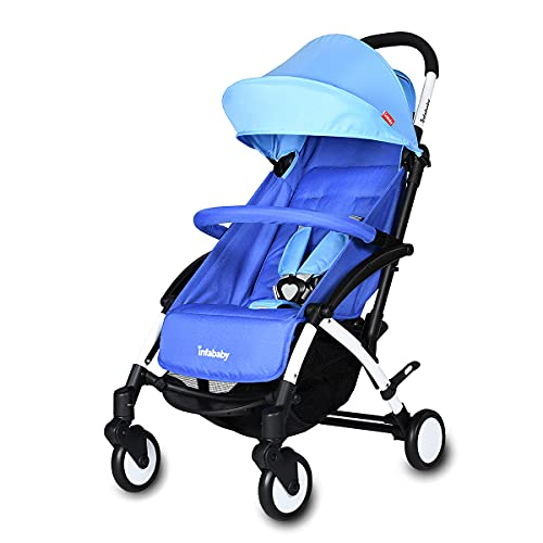 Infababy® Ezeego Stroller Next Generation/Stylish Design/New Born to 3 Years Toddler/Comfortable 5 Backrest Positions/Free Raincover & Carry Bag/Suitable for Travelling - Ocean Blue