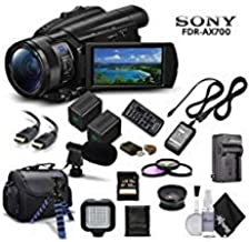 Sony Handycam FDR-AX700 4K HD Video Camera Camcorder + Extra Battery and Charger + 3 Piece Filter Kit + Wide Angle Lens + ...