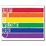 Everyone Is Welcome Here Print - Inclusion Poster Wall Print LGBT Pride School Office Uni Dorm Wall Decor Rainbow Lesbian & Gay Flag Design (Frame Not Included)