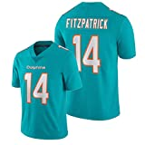 Camiseta De Fútbol Americano Fǐtzpǎtrǐck para Hombre #14 Miǎmi Dólphins Abanicos Bordados Camisas De Manga Corta Aqua Vapor Limited XL