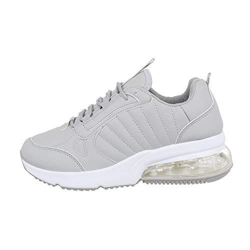 Ital Design Damenschuhe Freizeitschuhe Sneakers Low Synthetik Grau Weiß Gr. 40