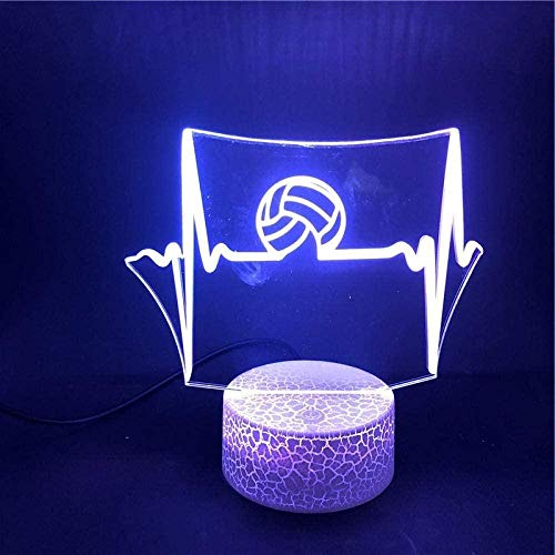 TEDDRA 3D Illusion Lamp Led Night Light Volleyball Waves The Smart Control Battery Operated App Control Decoration The Best Christmas Gifts for Children Home Decoration-7_Color_No_Remote