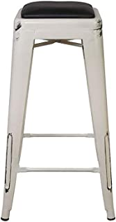 GIA 24-Inch Backless Stool with Faux Leather Seat, Antique White Black, 1-Pack