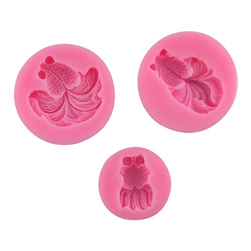 XIANGBEI 3Pcs 3D Goldfish Molds Carp Silicone Mold for Making Sugar Craft, Chocolate, Cake, Jelly, Dome Mousse